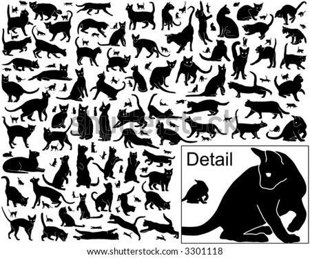 Collection of vector black cats in various positions with basic outlines included