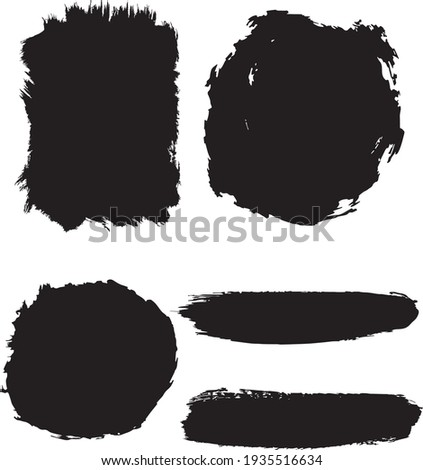 collection of vector black painted grunge shapes and lines