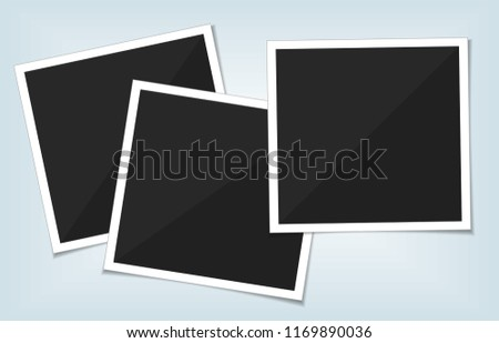 Collection of vector blank photo frames with shadow effects isolated on white background. Set different sizes of photos for your picture.