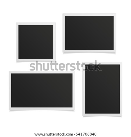 Collection of vector blank photo frames with shadow effects isolated on white background. Set different sizes of photos (frame) for your picture.
