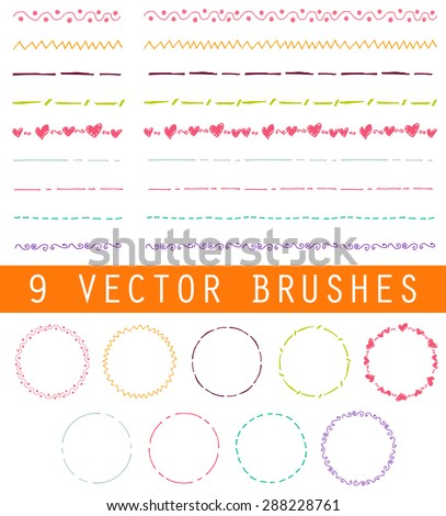 Collection of vector brushes. The dotted line and zigzag, traceries for decoration your work. Vintage round frames.