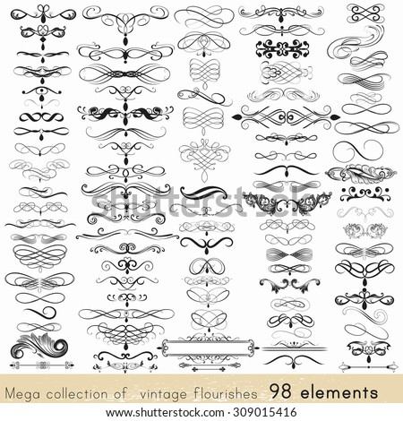 Collection of vector calligraphic element and page decorations