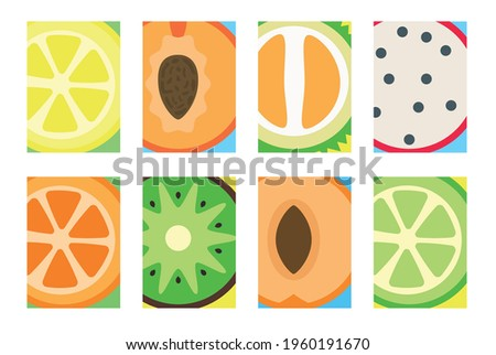 Collection of vector cards with fruits. Colorful set of fruit illustration for banners, web, site, cards, invitation. Summer backgrounds with fruits. Vector colorful fruits. Summertime concept.