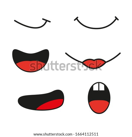 Collection of vector cartoon comic mouthes express emotion Сток-фото ©