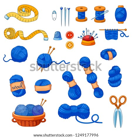 Collection of vector cartoon sewing items. Coil, thread, needle, yarn, scissors, needle, tape measure, buttons, thimble, pin, basket with thread, floss, spokes.  Icons for handmade shop.