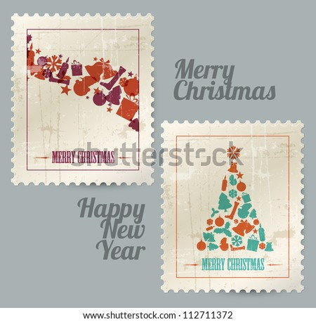 Collection of vector christmas vintage postage stamps made from christmas elements