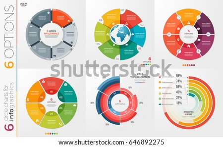 Infographic modern download vetores e grficos gratuitos collection of 6 vector circle chart templates for infographics with 6 options ccuart Images
