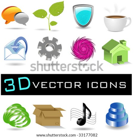 Collection of 12 Vector 3D Icons