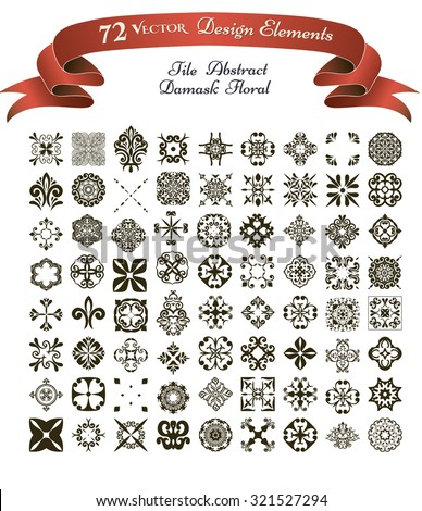 Collection of 72 Vector Design Elements: Damask, Tile, Floral, Abstract templates
