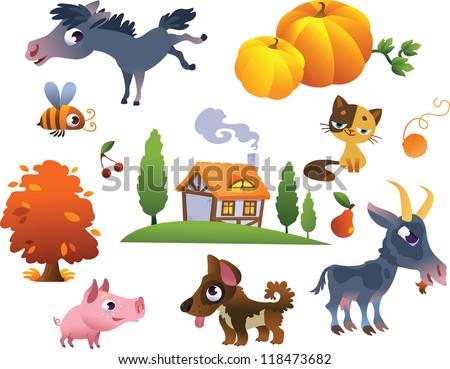 Collection of vector farm animals