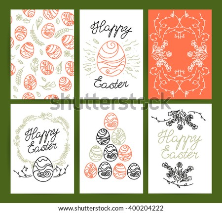 Collection of vector flat hand drawn holiday congratulation cards. Floral ornament, flower elements. Ink drawing. Best regards, love, easter. Party invitation. Flyer, leaflet. #400204222