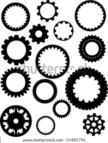 Collection of vector gear illustrations
