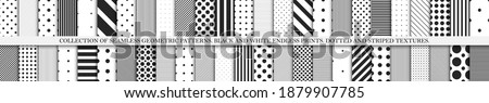 Collection of vector geometric seamless patterns. Simple dotted and striped textures - repeatable backgrounds. Black and white unusual design.