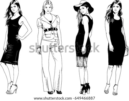 collection of vector girls