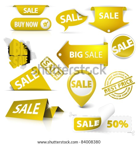 Collection of vector golden yellow sale tickets, labels, stamps, stickers, corners, tags on white background