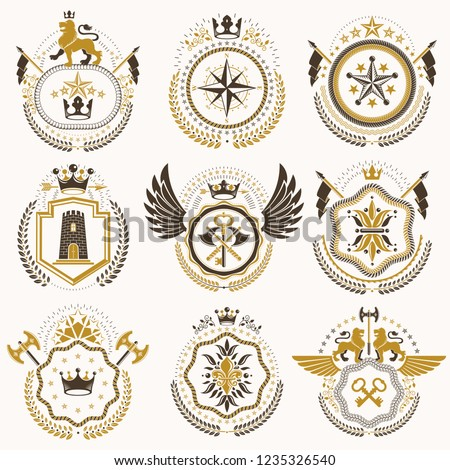 Collection of vector heraldic decorative coat of arms isolated on white and created using vintage design elements, monarch crowns, pentagonal stars, armory, wild animals.