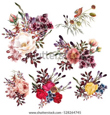 Collection of vector high detailed flowers in realistic style for design