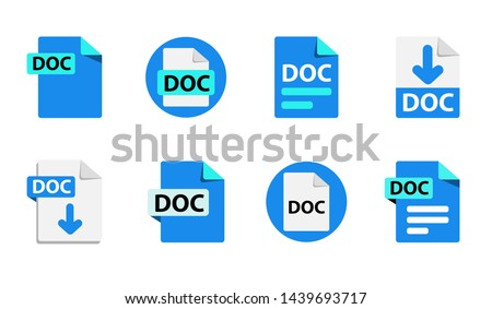 Collection of vector icons DOC. File format extensions icons. 8 different design options. Circle buttons. flat design style