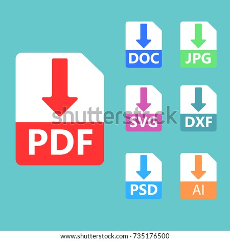 Collection of vector icons. Download signs. PDF, SVG, DOC, JPG PSD file formats