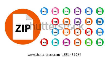 Collection of vector icons. File format extensions icons. PDF, MP3, TXT, DOC, DOCx, ZIP, PPTx, XLSx, JPG, PSD, fb2, AVI.