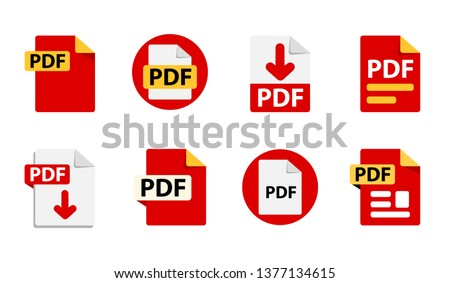 Collection of vector icons PDF. File format extensions icons. 8 different design options. Circle buttons. flat design style
