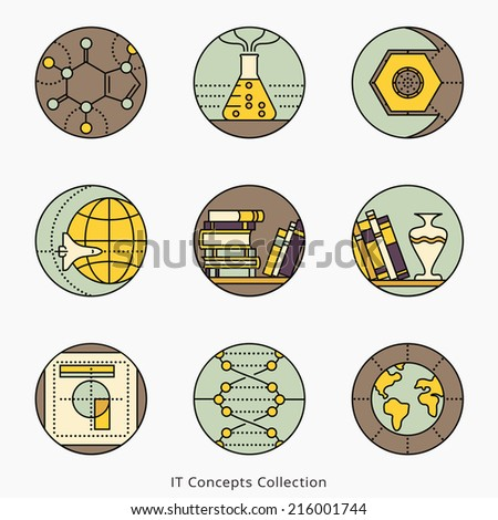 Collection of vector icons representing different information technology concepts such as data visualization strategy growth research branding communication Logo templates