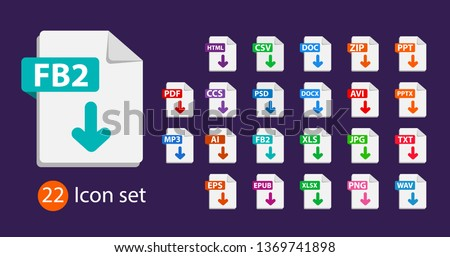 Collection of vector icons. Sign Download fb2 on dark background. File format extensions icons. PDF, MP3, TXT, DOC, DOCx, ZIP, PPTx, XLSx, JPG, PSD, AVI.