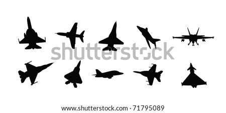 collection of vector illustration military fighter jet silhouettes