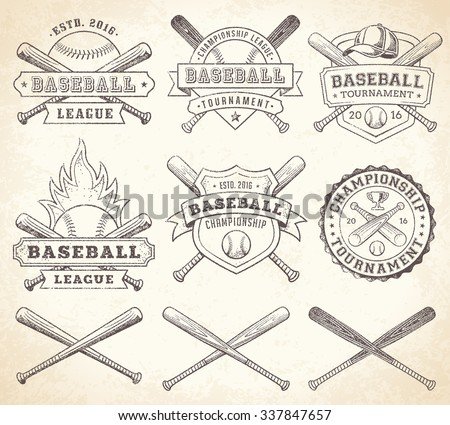 Collection Of Vector Illustrations Baseball Team And Competition Logos Insignias In Grunge Vintage