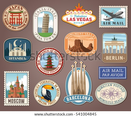 Collection of vector illustrations of international landmarks and famous national symbols from countries all over the world presented as stickers or labels