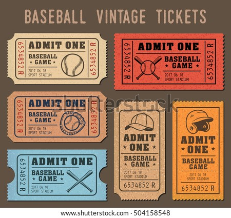 Collection Of Vector Illustrations Raffle Tickets Events And Games Baseball