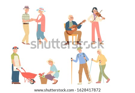 collection of vector illustrations of seniors who are still active in old age to fill their time and activities. retirement activities and hobbies that nourish the body and soul