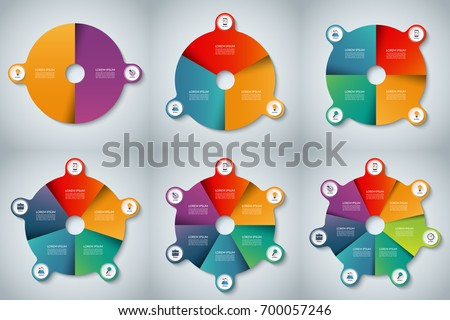 Collection of vector infographic pie charts. Circle business template with 2, 3, 4, 5, 6, 7 options, parts, steps or segments. Can be used for diagram, graph, chart, report, web design