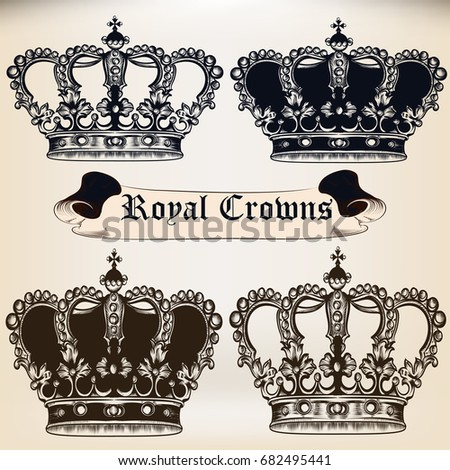 Collection of  vector king heraldic crowns for design