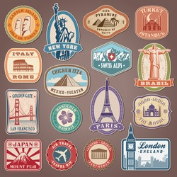 Collection of Vector labels with famous monuments and landmarks