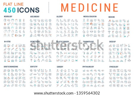 Collection of vector line icons of medicine. Surgery, dentistry, invitro, aids, cancer, check up, orthodontics, biology, vet, clinic, education. Set of flat signs and symbols.