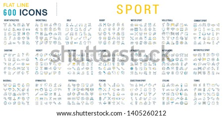 Collection of vector line icons of sport. Icons of active lifestyle, hobbies, sports equipment and clothing. Set of flat signs and symbols for web and apps.