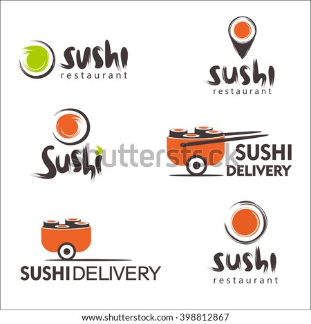 Collection of vector logos for sushi. Logo design for restaurants of Japanese food