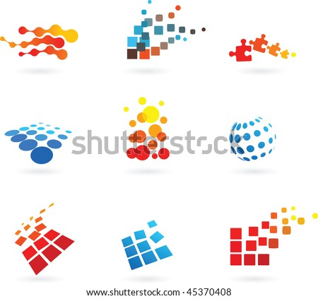collection of vector modern abstract dotted design elements
