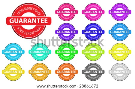 Collection of vector multicolored money back badges. Easy to edit, any size.