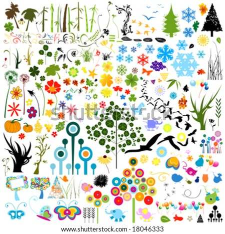 collection of vector nature elements