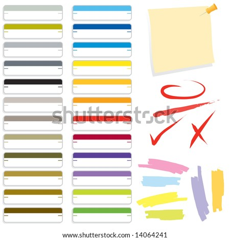 Collection of vector office supply graphics. Includes file folder labels, note, push pen, ink marks, and highlighters. (Office Items Set 2) - stock vector