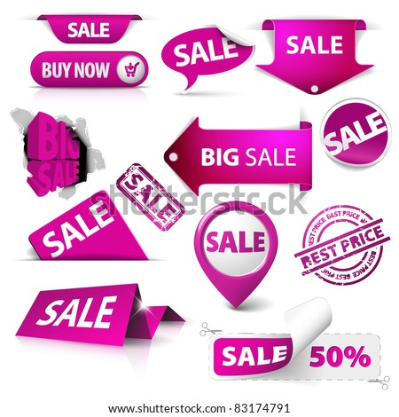 Collection of vector purple sale tickets, labels, stamps, stickers, corners, tags on white background