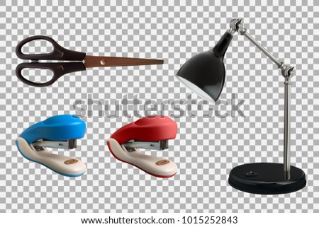 Collection of vector realistic stationery objects. Scissors, stapler and lamp isolated on transparent background