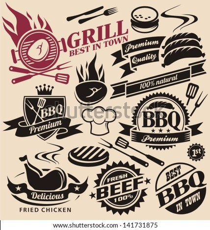 Collection of vector signs, symbols and icons. Set of grill design elements. Grill badges stickers and labels food set.