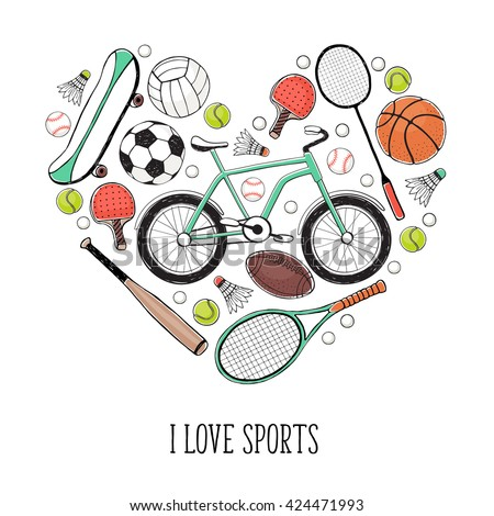 Collection of vector sport equipment. I love sports illustration. Hand drawn sport balls, rackets, bicycle isolated on white background.