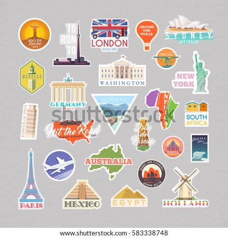 Collection of Vector stickers with famous monuments and landmarks. Travel vector logo set. Flat design. EPS 10.