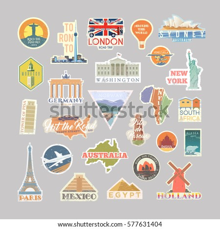 Collection of Vector stickers with famous monuments and landmarks. Travel vector logo set. Retro flat design. EPS 10.