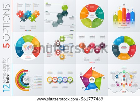 Collection of 12 vector templates for infographics with 5 options for presentations, advertising, layouts, annual reports.