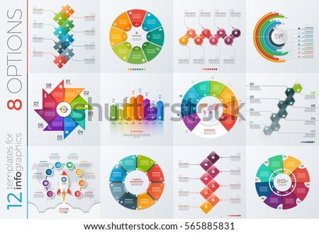 Collection of 12 vector templates for infographics with 8 options for presentations, advertising, layouts, annual reports.